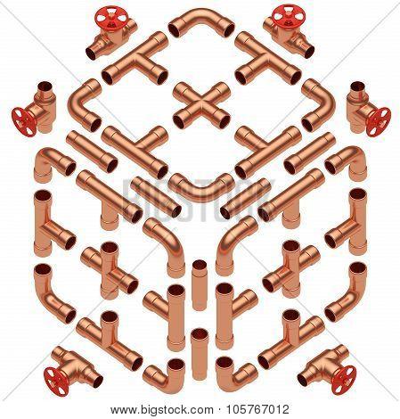 Copper Pipes Set Diagonal View