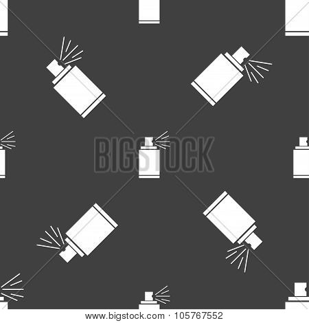 Graffiti Spray Can Sign Icon. Aerosol Paint Symbol. Seamless Pattern On A Gray Background. Vector