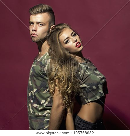 Portrait Of Side View Couple