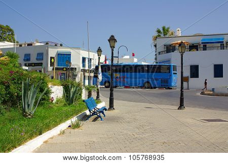 Tunisia, Africa - August 02, 2012: Streets In Sidi Bou Said  In Summer Day