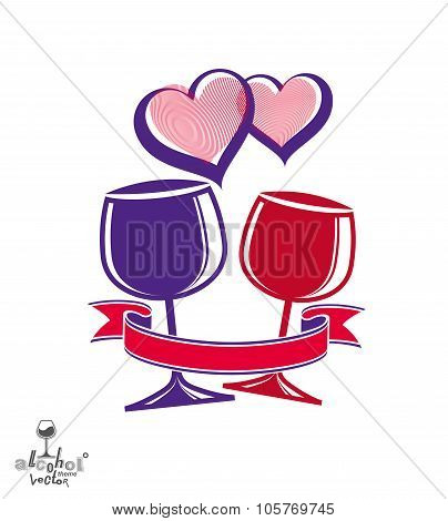Two Wineglasses Vector Artistic Illustration – Wedding Couple Conceptual Graphic Object. Celebration