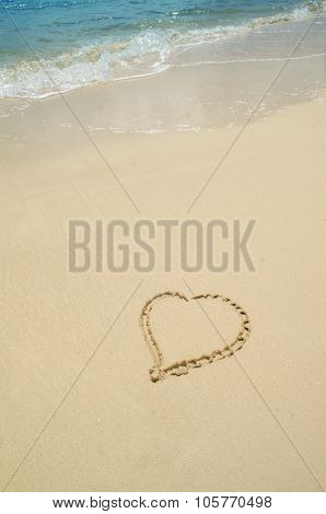 Heart Drawn In Sand On The Beach With Copy Space
