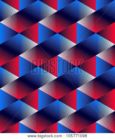 Illusive Continuous Colorful Pattern, Decorative Abstract Background With 3D Geometric Figures.