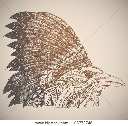 Hand Drawn Native American Indian Headdress.