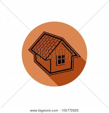Country House Constructed With Bricks, Home Vector Symbol. Real Estate Agency Theme. Conceptual Icon