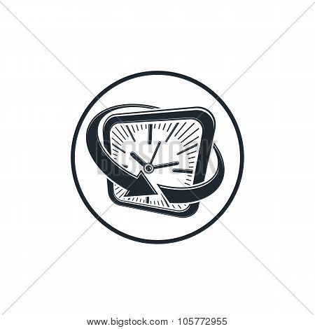 24 Hours-a-day Concept, Clock Face With A Dial And An Arrow Around. Day-and-night Interface Icon, Fo