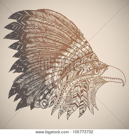 Eagle in oriental tribal ornament.