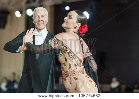 Minsk, Belarus - September 27, 2015: John Gusenhoffer And Irina Lobanova (usa) Perform Pro-am Standa