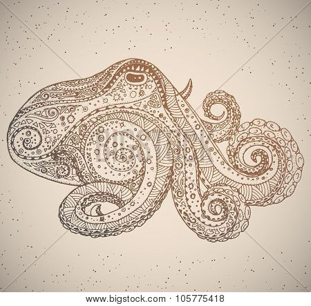 Octopus in oriental tribal ornament.