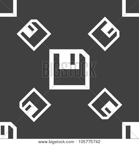 Floppy Icon. Flat Modern Design. Seamless Pattern On A Gray Background. Vector