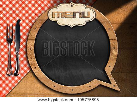 Restaurant Menu With Empty Blackboard