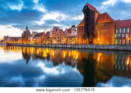 Old town of Gdansk with ancient crane at dusk, Poland