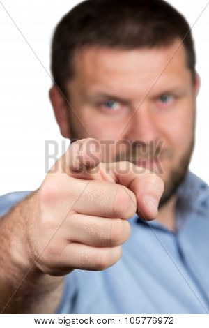 Businessman with beard pointing her finger