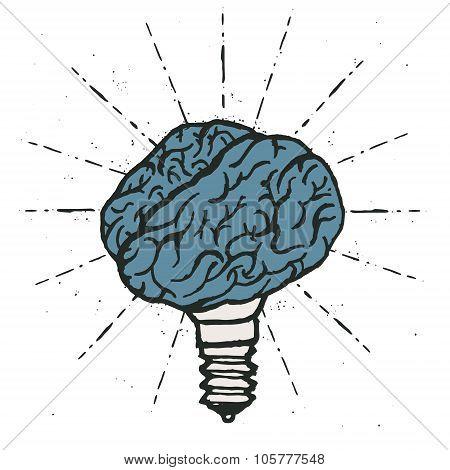 Brain lamp. Idea hand drawn typography poster.