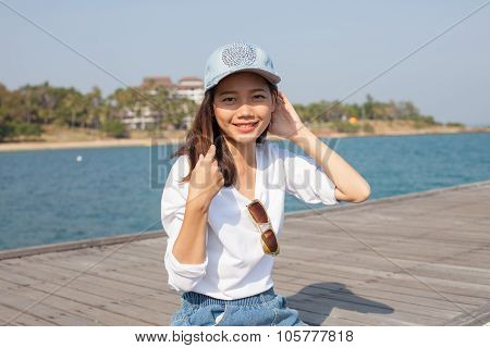 Portrait Of Beautiful Woman Happy Face Sitting On Wood Port Sea Side Use For People Activities Holid