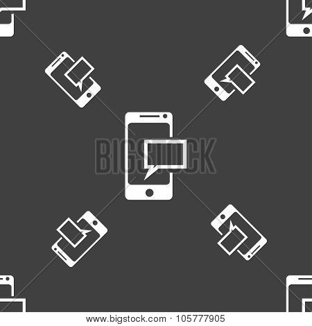 Mail Icon. Envelope Symbol. Message Sms Sign. Mails Navigation Button. Seamless Pattern On A Gray Ba