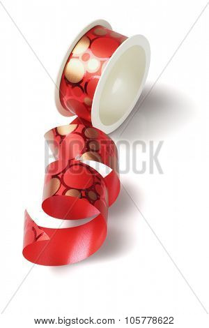 Roll of Red Ribbon on WHite Background