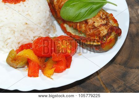 Stuffed Zucchini, Rice, Stewed Peppers And Tomatoes, Vegetables, Side Dish