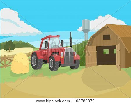 Tractor on the farm vector illustration