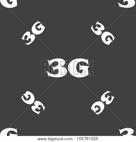 3G Sign Icon. Mobile Telecommunications Technology Symbol. Seamless Pattern On A Gray Background. Ve