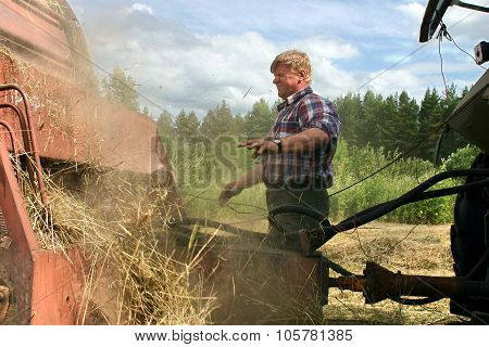 Harvesting Hay Baler, Russian Peasant Repair Used Farm Machinery.