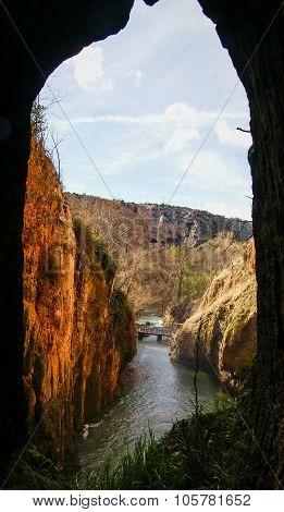 View To Waterfalls Of Monasterio De Piedra From The Cave, Zaragoza, Aragon, Spain