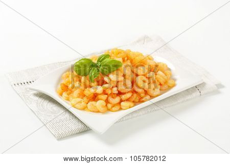plate of freshly pan fried shrimps on place mat