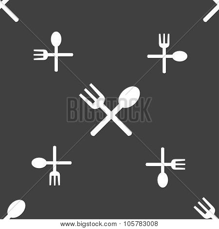Fork And Spoon Crosswise, Cutlery, Eat Icon Sign. Seamless Pattern On A Gray Background. Vector