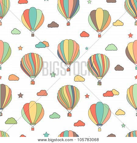 Seamless pattern with hot air balloons, stars and clouds