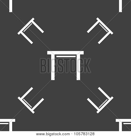 Stool Seat Icon Sign. Seamless Pattern On A Gray Background. Vector