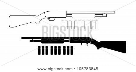 Shotgun with bullets. Contour. Black