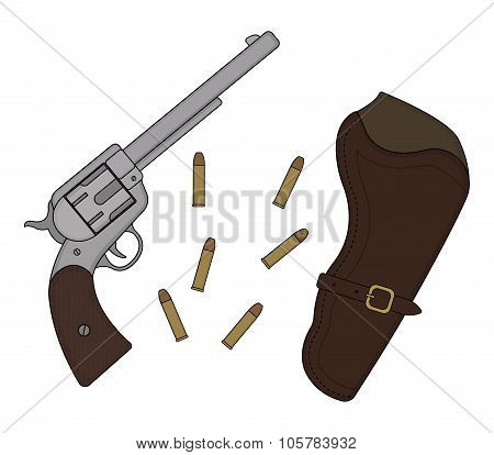 Wild west revolver, holster, bullets
