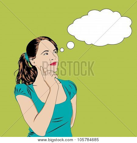 Thinking Girl In Pop Art Comics Style With Speech Bubble For  Text. Vector Illustration Pretty Young