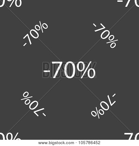 70 Percent Discount Sign Icon. Sale Symbol. Special Offer Label. Seamless Pattern On A Gray Backgrou
