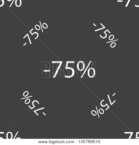 75 Percent Discount Sign Icon. Sale Symbol. Special Offer Label. Seamless Pattern On A Gray Backgrou