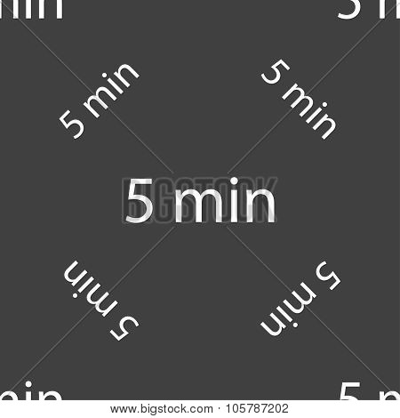 Five Minutes Sign Icon. Seamless Pattern On A Gray Background. Vector