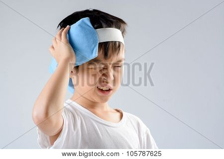 Boy Headache And Ice Gel Pack
