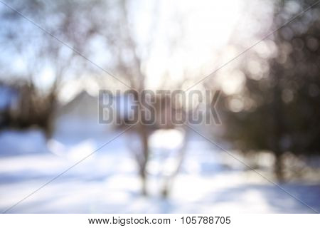 Blurred winter neighborhood background