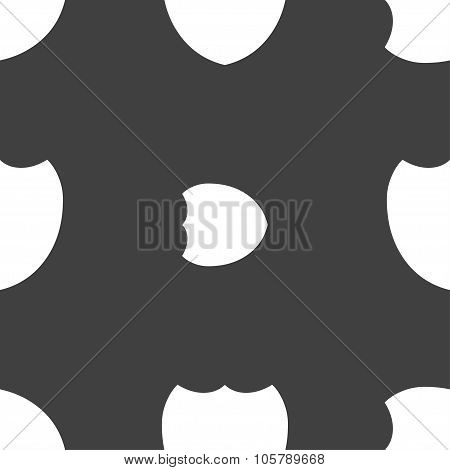 Shield Sign Icon. Protection Symbol. Seamless Pattern On A Gray Background. Vector