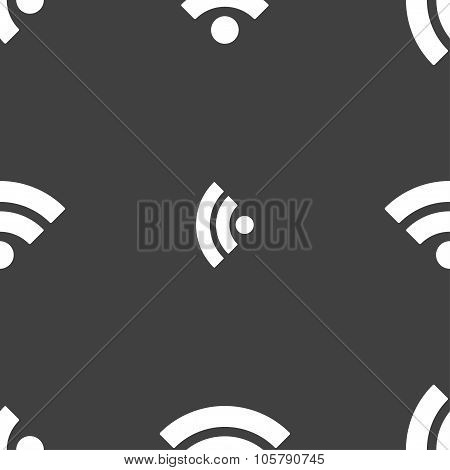 Wifi Sign. Wi-fi Symbol. Wireless Network Icon. Wifi Zone. Seamless Pattern On A Gray Background. Ve
