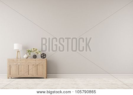 Cabinet with plant and lamp in front of a background wall (3D Rendering)
