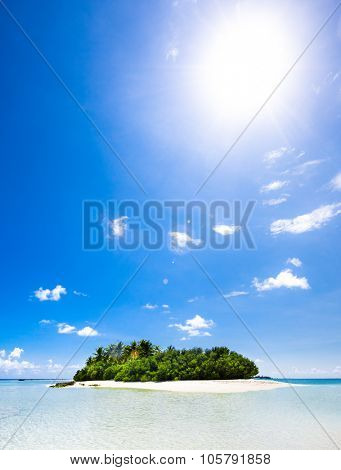 Untouched tropical beach view in the blue Indian ocean