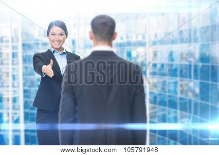 Portrait of business woman handshake gesturing with manager, blue background. Concept of leadership and cooperation