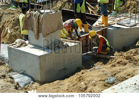 Pile cap is part of building substructure and foundation.