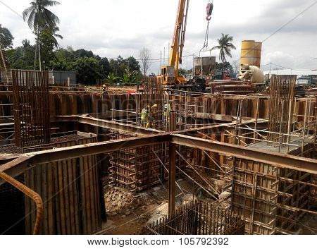 Pile cap formwork with reinforcement bar in it.