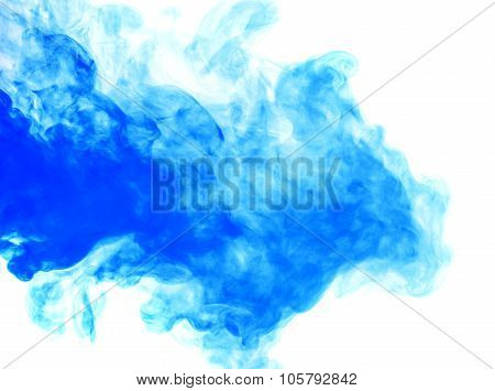 Abstract Blue Smoke Hookah On A White Background.