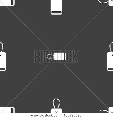 Army dogtag Icon Sign. Seamless Pattern On A Gray Background. Vector