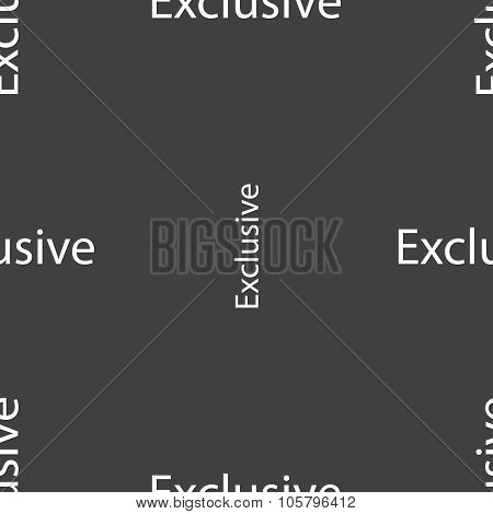 Exclusive Sign Icon. Special Offer Symbol. Seamless Pattern On A Gray Background. Vector