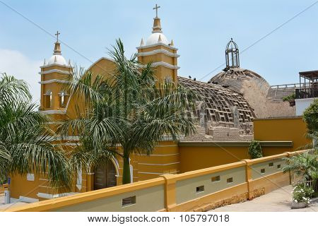 BARRANCO, PERU - OCTOBER 18, 2015: La Ermita Church. Located in the historic Barranco District the abandoned church building is in need of restoration.