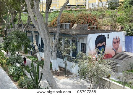 BARRANCO, PERU - OCTOBER 18, 2015: Mural on wall in Barranco. The Barranco district of Lima is the home of many of Peru's leading artists, musicians, designers and photographers.